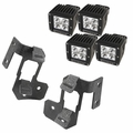 ( 1123235 ) A-Pillar Light Mount Kit, Textured Black, Cube LED, 07-17 Wrangler by Rugged Ridge