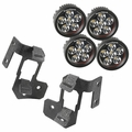 A-Pillar Light Mount Kit, Textured Black, Round LED, 07-17 Wrangler by Rugged Ridge
