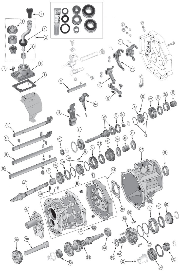 Jeep AX15 Transmission Parts for 1987-1999 Wrangler TJ, YJ ...