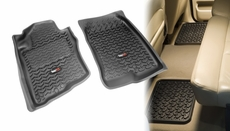 All Terrain Floor Liners, Four Piece, Black, Rugged Ridge, Nissan Xterra 2005-2011, Pathfinder 2005-2011, Includes first and second row liners.   82987.80
