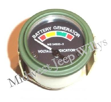 Jeep Part 118102 Ammeter Battery Gauge, 24V, Fits 1950-66 ... M Wiring Diagram Guage on