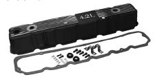 Black Painted Aluminum Valve Cover Kit - Black coated, fits 1981-1986 CJs w/ 4.2L engine. Replaces plastic OEM type valve cover