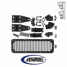 Black Powder Coated Stainless Hood Kit with TJ Style Hood Catch fits 1978-1995 Jeep CJ & YJ Wrangler by Kentrol