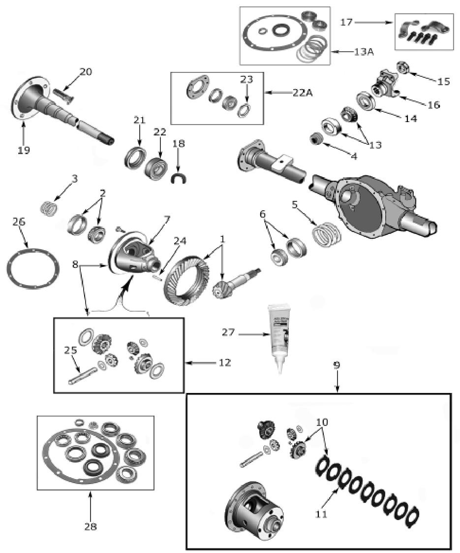 cherokee xj dana 35 rear axle parts  1984 01  midwest willys m38 wiring diagram m38 jeep wiring diagram