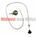 Choke Cable Assembly Fits Willys Military MB, GPW, M38, M38A1 with Olive Green Knob