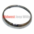 Chrome Headlight Bezel for CJ3B, CJ5, CJ6, Late DJ3A, Willys Truck, Station Wagon, FC and Jeepster