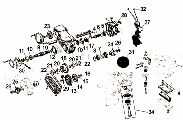 engine diagram 71 fj40 willys cj2a dana spicer 18 transfer case parts from  willys cj2a dana spicer 18 transfer case parts from