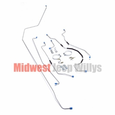 Complete Formed Steel Brake Line Kit,  Fits 1950-1952 Willys Jeep M38 Models