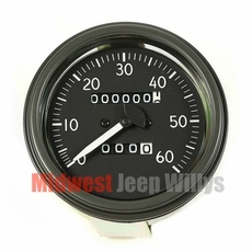 Complete Speedometer Assembly, Short Style Needle, 0-60 MPH Fits 1944-45 Willys MB, Ford GPW