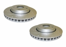 """Crown Rough Trail Front Drilled & Slotted Brake Rotor Set, fits 2007-12 Jeep Wrangler JK with 11.89"""" Rotors"""