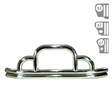 Defender Front Bumper, Stainless Steel, 55-06 Jeep CJ and Wrangler by Rugged Ridge