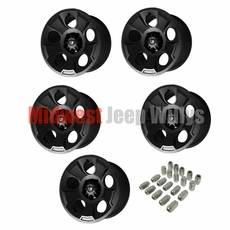 Set of 5 Drakon Cast Aluminum Wheels with Chrome Lug Nuts, 17 X 9 Black Satin, fits 2007-2017 Jeep Wrangler JK Models