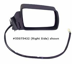 Electric Remote Mirror, Right (Chrome) Jeep Cherokee (1984-1996); Right side Chrome w/ Foldaway; Non-Export.