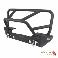 Fishbone Offroad Front Winch Bumper with Full Grille Guard, Fits 2007 to 2017 JK Wrangler, Rubicon and Unlimited