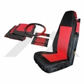 Front Seat Cover & Belt Cover Set, Black & Red, 1987-95 Wrangler YJ, 1997-02 Wrangler TJ