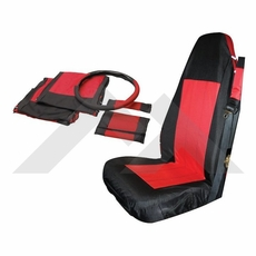 Front Seat Cover & Belt Cover Set, Black & Red, 2003-06 Wrangler TJ