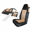 Front Seat Cover & Belt Cover Set, Black & Tan, 2003-06 Wrangler TJ