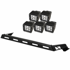 Hood Light Bar Kit, 5 Cube LED Lights, 07-17 Jeep Wrangler JK by Rugged Ridge