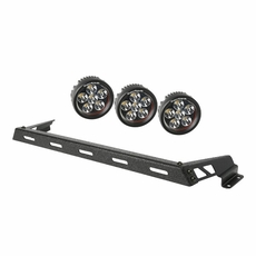 Hood Light Bar Kit, Textured Black, 3 Round LEDs, 07-17 Jeep Wrangler JK by Rugged Ridge