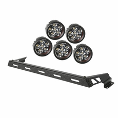 Hood Light Bar Kit, Textured Black, 5 Round LEDs, 07-17 Jeep Wrangler JK by Rugged Ridge