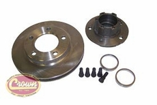 """HUB & ROTOR, FRONT,1977-78 CJ WITH 1-1/8"""" THICK ROTOR (NOT ASSEMBLED)"""