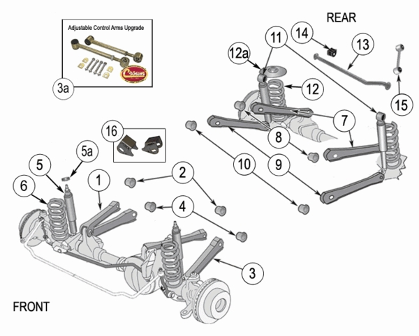 jeep wrangler tj suspension parts  years 1997
