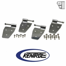 Kentrol Door Hinge Set (4 pieces) Polished Stainless Steel fits 1987-1995 Jeep Wrangler YJ