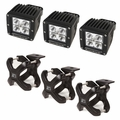 Large X-Clamp and Cube LED Light Kit, Black, 3-Pieces by Rugged Ridge