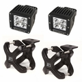 Large X-Clamp and Cube LED Light Kit, Black, Pair by Rugged Ridge