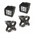 Large X-Clamp and Cube LED Light Kit, Textured Black, Pair by Rugged Ridge
