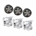 ( 1521015 ) Large X-Clamp and Round LED Kit, 3 Pieces, Silver by Rugged Ridge
