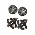 Large X-Clamp and Round LED Kit, Pair, Black by Rugged Ridge