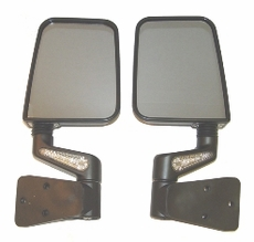 Heated Door Mirror Kit, LED Signals, Black 87-02 Jeep Wrangler by Rugged Ridge