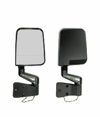 Door Mirror Kit, LED Signal, Dual Focus, Black, 87-02 Jeep Wrangler by Rugged Ridge