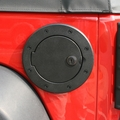 Locking Gas Cap Door, Black Aluminum, 07-17 Jeep Wrangler by Rugged Ridge