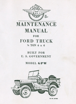 maintenance manual for ford model gpw 1  4 ton 4x4 truck
