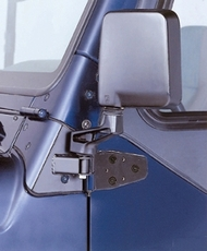 Mirror Relocation Brackets, Black, 87-95 Jeep Wrangler by Rugged Ridge