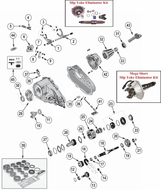 new process np231 transfer case parts  jeep wrangler  cherokee