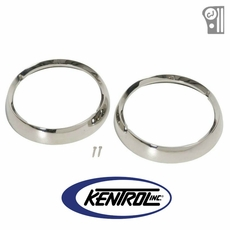 Polished Stainless Steel Headlight Bezel Set fits 1972-1986 Jeep CJ Models by Kentrol