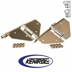 Polished Stainless Steel Windshield Hinge Set, no Mirror Holes, fits 1976-1995 Jeep CJ & YJ Wrangler by Kentrol