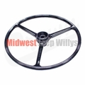 """Replacement Black Steering Wheel, for 2-1/4"""" horn button, Fits 1964-1975 CJ5, 1964-1975 CJ6"""