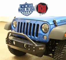 "Rock Hard 4x4 2007-2017 Jeep JK Wrangler Patriot Series Grille Width ""Stubby"" Front Bumper"
