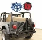 ( RH2001C ) Rock Hard 4x4 Patriot Series Rear Bumper with Tire Carrier for 1976-2006 Jeep Wrangler TJ, LJ, YJ and CJ