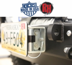 Rock Hard 4x4 Roller Fairlead License Plate Bracket with Theft Prevention Cabled Lanyard
