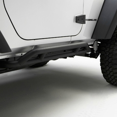 RRC Rocker Guards, Black, 07-17 Jeep Wrangler by Rugged Ridge