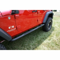 3-Inch Round Tube Steps, Black, 07-17 Jeep Wrangler Unlimited by Rugged Ridge