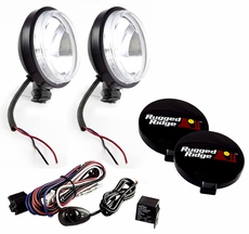 6-Inch Round Slim Halogen Light Kit, Black Steel Housings by Rugged Ridge