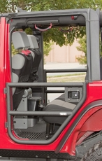 Rear Tube Doors, Textured Black, 07-17 Jeep Wrangler Unlimited by Rugged Ridge