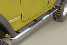 3-Inch Round Tube Side Steps, Stainless, 07-17 Wrangler Unlimited by Rugged Ridge