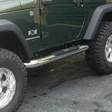 4-inch Round Side Steps, Stainless Steel, 07-17 Jeep Wrangler by Rugged Ridge
